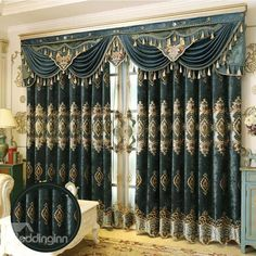European Royal High Quality Soft Chenille Decorative and Blackout decorative curtains for living room - Living Room Decoration Blue Curtains Living Room, Navy Blue Curtains, Kids Curtains, Cool Curtains, Swag Curtains, Window Curtains, Curtain Ideas For Living Room, Bedroom Curtains, Sheer Curtains