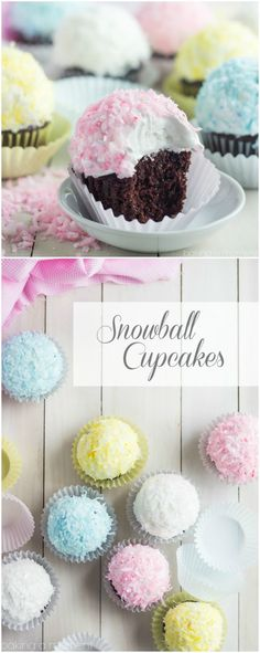 So fun for Spring! Loved the pretty pastel on these coconut snowball cupcakes. The marshmallow frosting was perfection and this is THE BEST chocolate cupcake recipe EVER! ~ http://bakingamoment.com