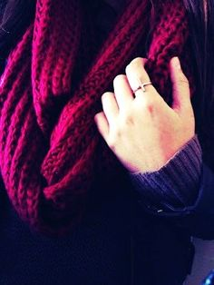 Red Chunky Knit Infinity Scarf - Chunky Knit Infinity Scarf For Women #girls #scarf #snood www.loveitsomuch.com