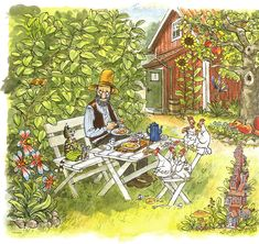 Pettson och Findus - Pannkakslunch i trädgården #tapet #PettsonochFindus #SvenNordqvist #barnrum #illustrationer #barnbok Boy And Girl Wallpaper, Kids Wallpaper, Nordic Art, Children's Book Illustration, Cute Cartoon, Pretty Pictures, Painting Inspiration, Adult Coloring, Art For Kids