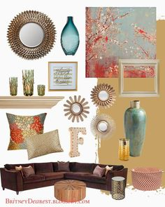 Living Room Style Ideas {Home Interior Mood Board} Home decor, tan, red, blue, teal, coral, brown gold, bronze