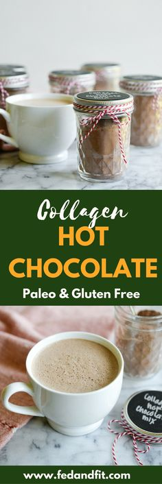 This collagen hot chocolate mix is perfect for holiday gifting easy to put together and totally Paleo friendly and dairy free! This collagen hot ch Easy Delicious Recipes, Real Food Recipes, Tasty, Yummy Food, Healthy Recipes, Drink Recipes, Primal Recipes, Yummy Eats, Diabetic Recipes