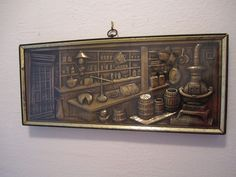 Mid Century Victorian Country Store Apothecary Turner Wall Accessory Art Plaque