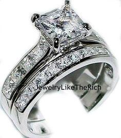 14k White Gold Sterling Silver Princess Diamond Engagement Ring Wedding Set sz 6