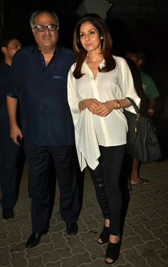 Boney Kapoor and Sridevi at Anil Kapoor's bash to celebrate trailer preview of #DilDhadakneDo. #Bollywood #Fashion #Style #Beauty
