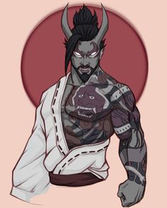 i drew everyone's favorite tiddy boy: Hanzo! hate playing as him, but damn, the oni skin is a good one. D D Characters, Fantasy Characters, Character Concept, Character Art, Character Ideas, Rune Knight, Genji And Hanzo, D D Races, Overwatch Hanzo