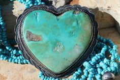 HUGE old Navajo sterling silver & turquoise heart brooch.