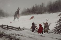Does it mean there will be no gifts this year? Krampus clarify certain issues with Santa. Credit for this fantastic illustration goes to artist Jakub Rozalski aka Arte Horror, Horror Art, Dark Fantasy Art, Art Sinistre, Creepy Art, Creepy Paintings, Monster Art, Mythical Creatures, Character Art