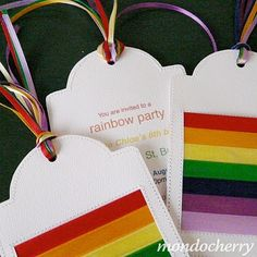 Fun rainbow party invitations