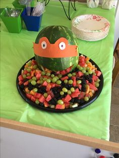 Oreos as Sewer Lids half eaten TMNT face veggie trays One for