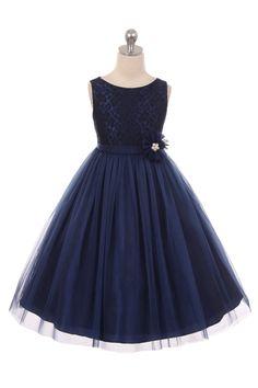 Navy Blue Sleeveless Lace Detailing Flower Girl Dress with Overlay Tulle Skirt