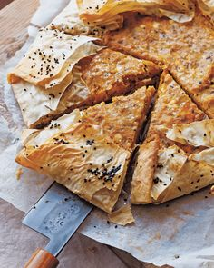 """""""Cracklingly crisp filo pastry stuffed with spiced pumpkin and cheese. Delicious served hot straight from the oven. Fall Dinner Recipes, Lunch Recipes, Fall Recipes, Holiday Recipes, Filo Pastry Sheets, Savory Pumpkin Recipes, Savoury Recipes, Fish Pie, Sweet Pie"""