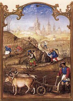 Le fatiche di Marzo: lavori nei campi - Breviario Grimani - manoscritto miniato - scuola Gand-Bruges - 1490-1510 -  Venezia - Biblioteca Nazionale di San Marco.
