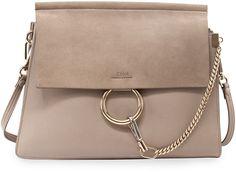 The Chloé Faye medium flap shoulder bag in the monochrome grey we all love.