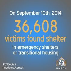 On Sept. 10, 2014, 36,608 victims found shelter in emergency shelters or transitional housing. #DVcounts | Learn more http://NNEDV.org/Census