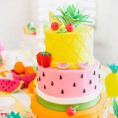 Fruity Birthday Cake Pineapple Watermelon Orange Birthday throughout Incredible Birthday Party Cake - Party Supplies Ideas Pretty Cakes, Cute Cakes, Beautiful Cakes, Amazing Cakes, Fondant Cakes, Cupcake Cakes, Kid Cakes, Fondant Girl, Fondant Bow