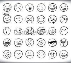 30의 손으로 그려진된 이모티콘 또는 스마일 각각 다른 얼굴 표정과 감정, 흰색 스케치 개요