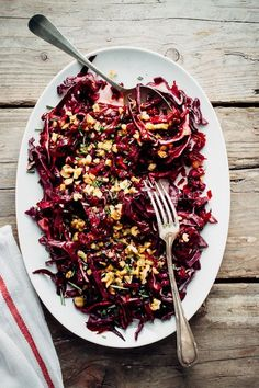 Purple cabbage salad with red cabbage, beets and walnuts