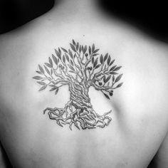 30 Olive Tree Tattoo Designs For Men - Olea Europaea Ink Ideas Tree Tattoo Back, Tree Tattoo Men, Tree Tattoo Designs, Back Tattoos, Tattoo Designs For Women, Life Tattoos, Tattoos For Guys, Tatoos, Olive Tree Tattoos