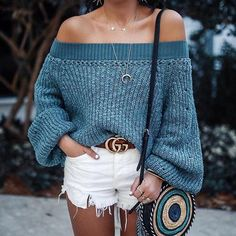 Blue Draped Off Shoulder Backless Lantern Sleeve Oversized Casual Pullover Sweater Fall Sweaters, Blue Sweaters, Pullover Sweaters, Cardigans, Sweater And Shorts, Long Sleeve Sweater, Sweater Outfits, Denim Shorts, Fall Collection