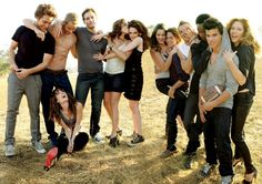 The cast of Twilight: Robert Pattinson (Edward), Elizabeth Reaser (Esme), Kellan Lutz (Emmett), Peter Facinelli (Dr. Cullen), Nikki Reed (Rosalie), Kristen Stewart (Bella), Ashley Greene (Alice), Jackson Rathbone (Jasper), Cam Gigandet (James), Edi Gathegi (Laurent), Taylor Lautner (Jacob), Rachelle Lefevre (Victoria).