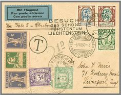 Liechtenstein Airmail Basle Cherbourg from 5. 7. 1930, cover with mixed franking Switzerland / Liechtenstein and in Liverpool postage due. LBK 33 b = 1000.- appraisal 150.- till 200.-  Lot condition   Dealer Rapp Auctions  Auction Starting Price: 150.00 SFr