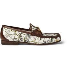 GucciFloral-Print Canvas and Leather Loafers