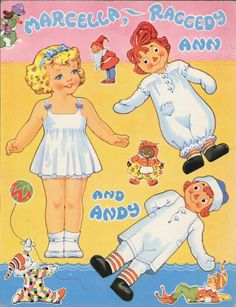 Raggedy Ann and Raggedy Andy Paper Dolls 1957 Uncut Original Book Paper Doll House, Paper Dolls Book, Vintage Paper Dolls, Paper Toys, Vintage Toys, Paper Crafts, Vintage Ballet, Glamour Vintage, Vintage Playmates