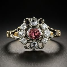 """Georgian Mourning Ring.  A lovely tribute to Georgian sentimentality. This silver-topped 14K mourning ring features a shallow foil backed rose colored garnet surrounded with rose-cut, mine -cut and European-cut diamonds (0.50 cttw). Engraved on the outside of the shank """"Mary Fordham-OB-7OCT-1768"""". Typically these rings were given at the funerals to close friends and/or family members as specified in the will of the deceased"""