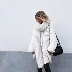 """""""Bundled up in a white I Love Mr Mittens cardigan . . . Shop at www.damoyantwerp.com #damoy #minimalchic #ilovemrmittens"""""""
