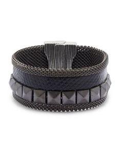 Cynthia Desser - Pyramid Stud Textured Cuff Bracelet
