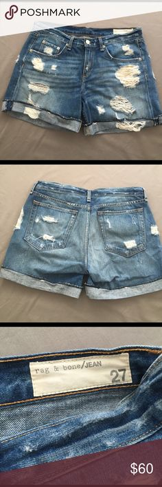 Rag & Bone distressed Shorts Extremely distressed denim Shorts. Gently used. In excellent condition. rag & bone Shorts Jean Shorts