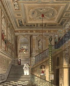 the-great-staircase at kensington-palace from pynes-royal-residences engraved-by richard-reeve 1819.