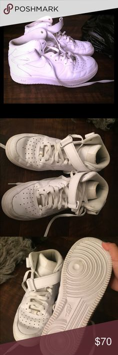 White high top Air Force 1 white high top classic Nike Air Force one have been worn but in great condition Nike Shoes