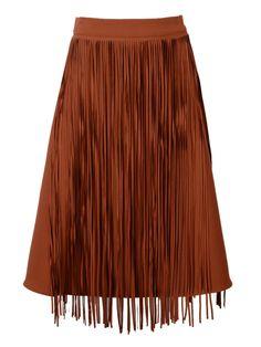 Brown Tassels A-line Skater Skirt