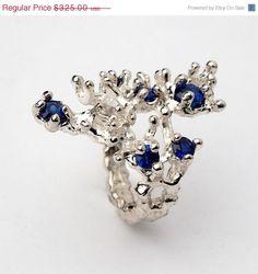 REEF Blue Sapphire Ring, Gemstone Ring, Sterling Silver Sapphire Ring by AroshaTaglia