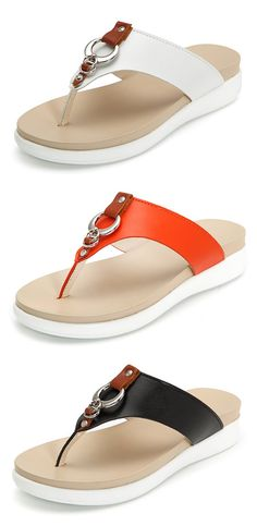 d57930ba32a7d US 19.77 Big Size Metal Clip Toe Leather Flat Casual Beach Slippers Knit  Shoes