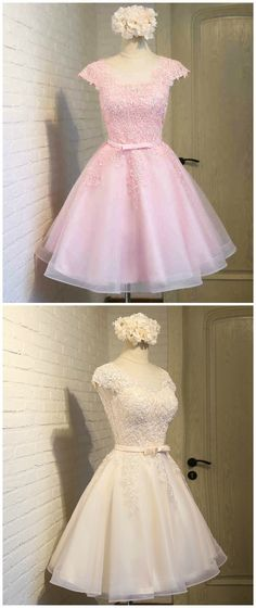 Custom made-to-order formal dress by GemGrace. Multiple colors and all sizes available. Additional photos also available upon request. One Dress, Two Colors, Blush Pink and Champagne. Cute Illusion Lace Prom Dress 2016, Homecoming Dress 2016