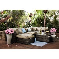 Regatta 3 Pc. Outdoor Sectional and 2 Ottomans | Value City Furniture