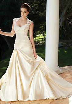 Retro Fit N Flare Floor Length Taffeta Queen Anne Dropped Waist Wedding Dress - 1300103689B - US$249.99 - BellasDress.  I love the sleeves and the open back, as well as the dropped waist.  Might be a little big for dancing but I think I still like it.