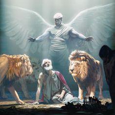 Un ángel protegiendo a Daniel en el foso de los leones