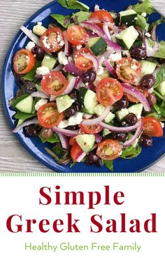A simple flavorful salad that goes with just about everything. Start with the basics -- romaine, cucumbers, red onion and tomatoes-- then add olives, some feta (optional if dairy free) and toss with my go to salad dressing, Easy Balsamic Vinaigrette. #glutenfree