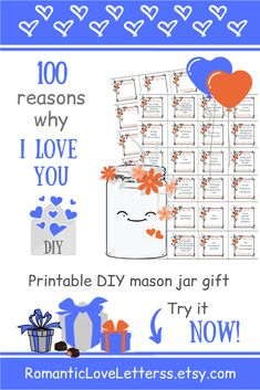 This PRINTABLE DIY kit of 100 Reasons Why I Love You is excellent PERSONALIZED romantic gift for him and her paper anniversary gift)! Please visit our website to buy it now! for him Romanric love notes Thoughtful Gifts For Him, Romantic Gifts For Him, Anniversary Gifts For Husband, Paper Anniversary, 100 Reasons Why I Love You, 52 Reasons, Love Notes For Him, Diy Kit, Personalized Gifts For Men