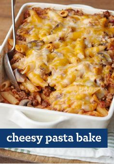 Cheesy Pasta Bake -- Cheesy with cheddar and full of mushrooms, bacon and spaghetti sauce, this pasta recipe is comfort food at its most delicious--ready for the oven after just 30 minutes of prep!