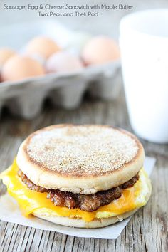 Sausage, Egg, and Cheese Breakfast Sandwich with Maple Butter | Recipe on twopeasandtheirpod.com