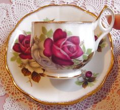 Red, White Roses - Queen's Rosina - 7971 - 1950s Vintage - Teacup & Saucer- Bone China - Longton, Stoke-on-Trent, Staffordshire, England