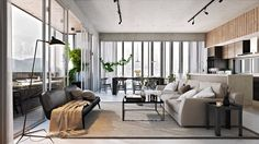 Smart Interior Design Rendering: Kitchen, Living And Dining Room Combo - Picture gallery Interior Design Renderings, 3d Interior Design, Interior Design Inspiration, Interior Design Living Room, Living Room Designs, Living Room Decor, Modern Interior, Modern Room, Contemporary Decor