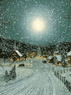 MOVING  Snowing Christmas Scene - Snowing Christmas Scene Gif - Animated wallpaper, screensaver 240x320 for cellphone sch 1/4/16