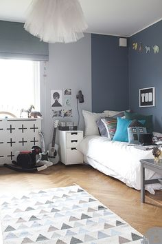 Walls. A little boy's room with grey tones
