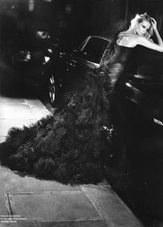 Black feathered gown